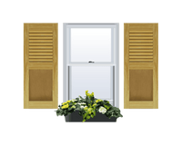 Louver Over Flat Panel (Shaker Style) Pine Shutter - 1 Pair