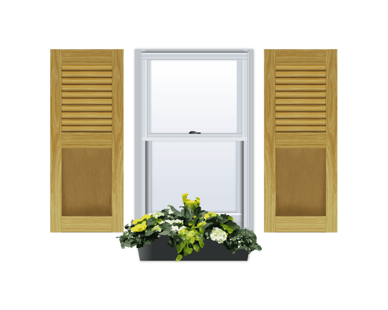 Louver Over Flat Panel (Ovolo Sticking) Pine Shutter - 1 Pair