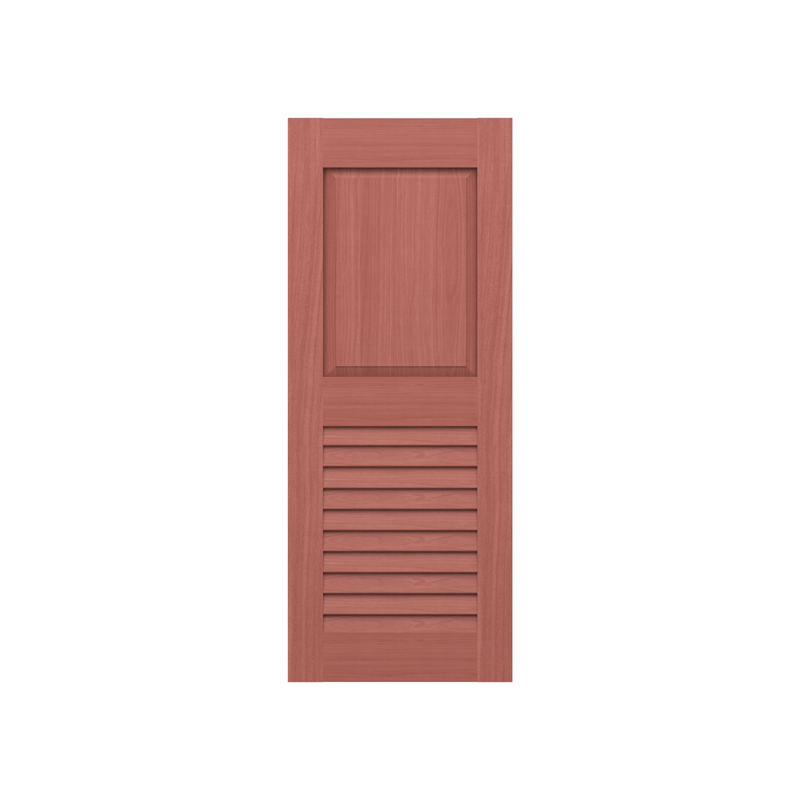 Raised Panel Over Louver Mahogany Shutter w/ Extira Composite Panels - 1 Pair