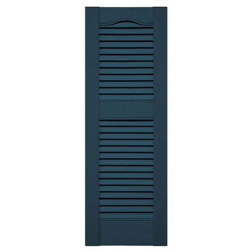Cathedral Top Offset Mullion Louver Vinyl Shutter (1 Pair)