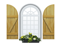 Board and Batten Arch Top & Z Bar Pine Shutter - 1 Pair