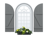 Board and Batten Arch Top & Composite Wood Exterior Shutter - 1 Pair