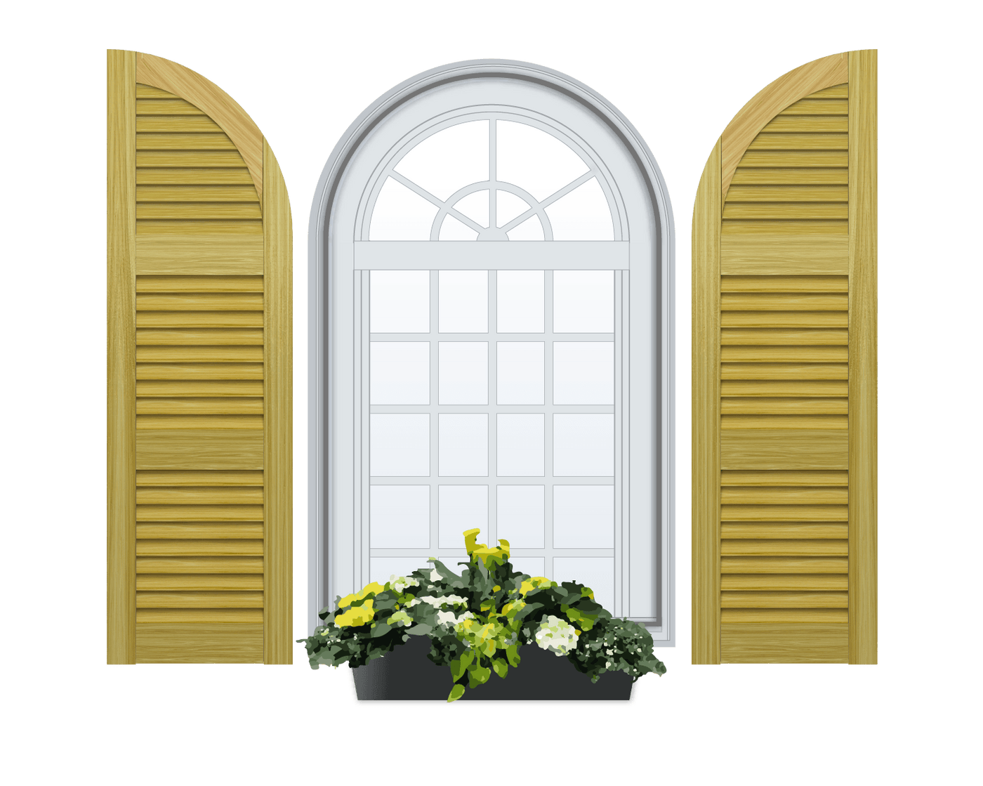 Louvered Arch Top Pine Shutter 3 Equal Sections 1 Pair