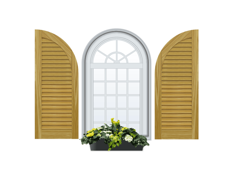 Louvered Arch Top Pine Shutter - No Mid Rail - 1 Pair