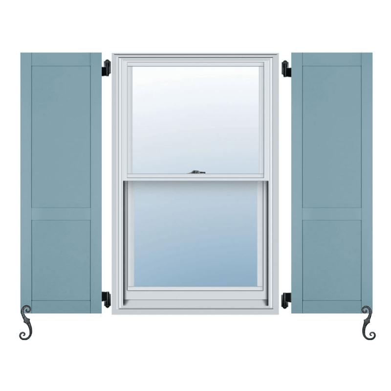 Fiberglass Elite Series Flat Panel/Shaker Style Exterior Shutter - Custom Panel Split - 1 Pair