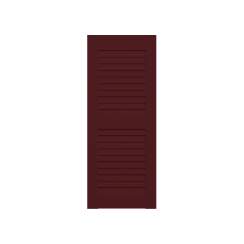 Louvered Mahogany Shutter - 2 Equal Sections - 1 Pair
