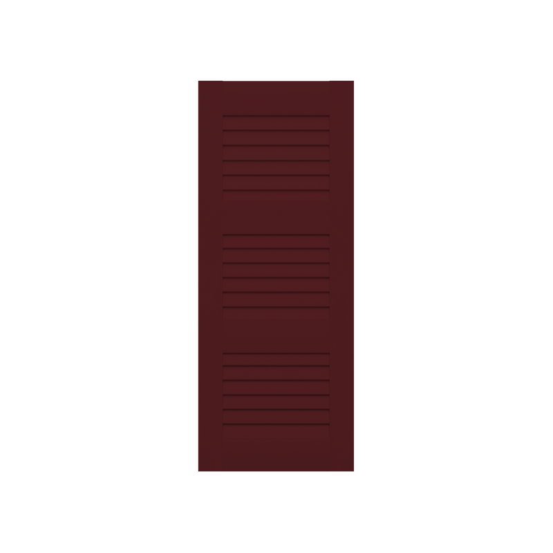 Louvered Mahogany Shutter - 3 Equal Sections - 1 Pair