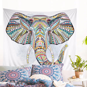 Wall Tapestry Colorful Elephant White Background