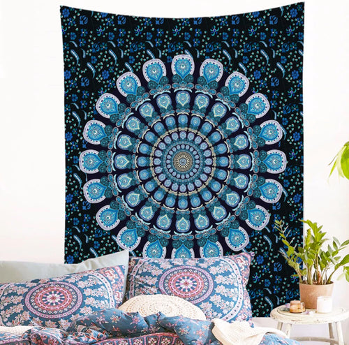 Wall Tapestry Blue Mandala