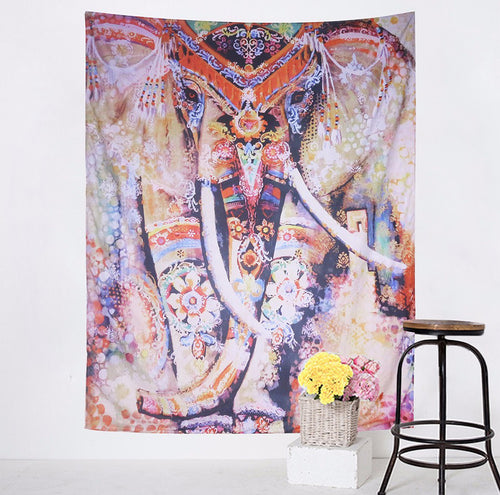 Wall Tapestry Colorful Elephant