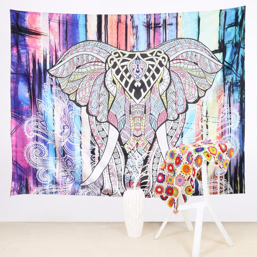Wall Tapestry Colorful With Elephant