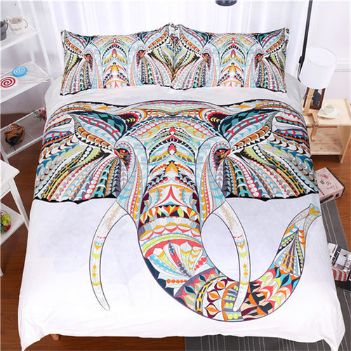 White Bedding Set With A Colorful Elephant