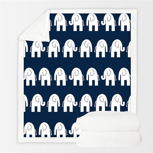 Bed Cover With White Elephants