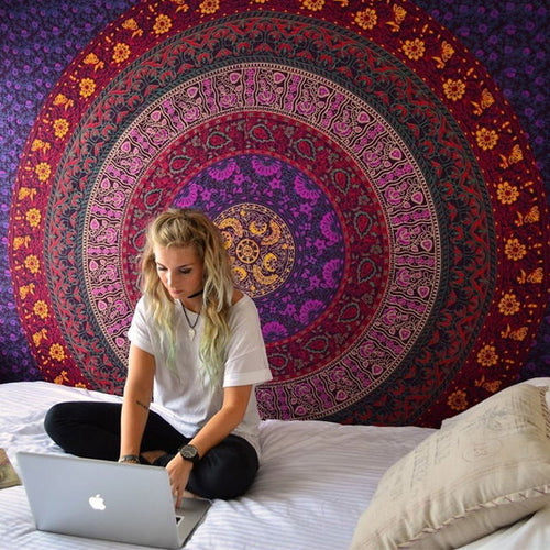 NEW Indian Mandala Tapestry Hippie Wall Hanging Digital Printing Beach Mat Sunscreen Square Shawl