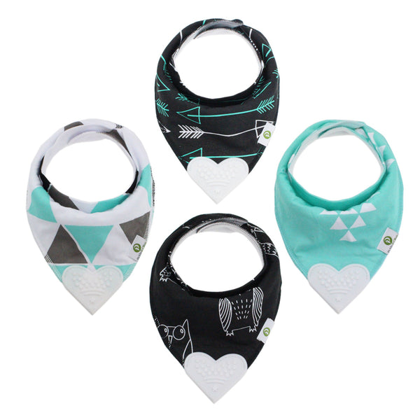 Black/Blue Bandana Teething Bibs (4 Pack)