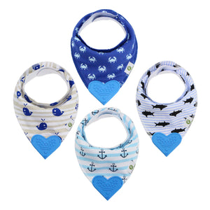 Blue Sea Bandana Teething Bibs (4 Pack)