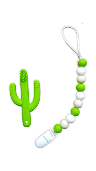 Green Silicone Bead Pacifier Clip