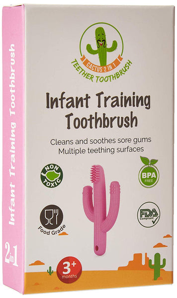 Cactus 2 in 1 Teether Toothbrush (Pink)
