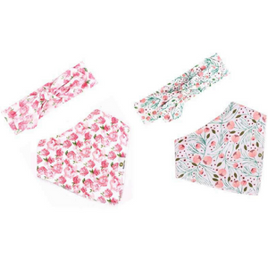 Floral Headband & Bib Set (Set of 4)