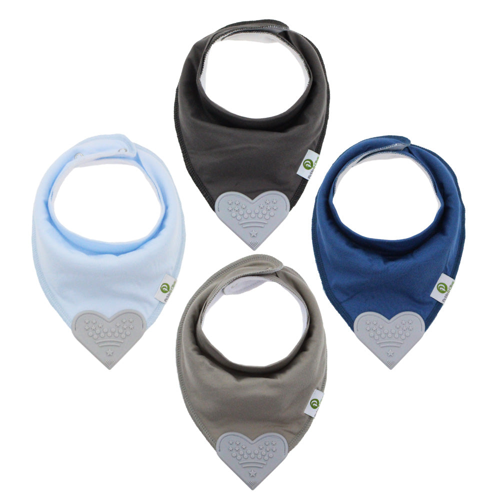 Solid Blues Bandana Teething Bibs (4 Pack)