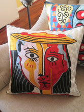 "Hand Embroidered Picasso inspired ""Woman With a Hat"" Pillow Shams"