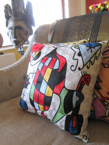 Hand Embroidered Miró's inspired  Pop Art Pillow Shams