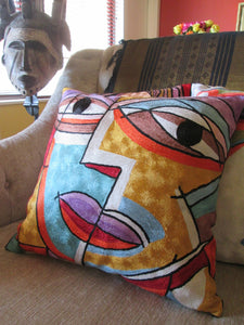 "Hand Embroidered Picasso inspired ""Faces"" Pillow Shams"