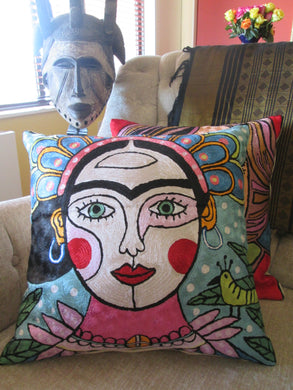 Hand Embroidered Frida Kahlo inspired  Pillow Shams