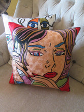 Silk Hand Embroidered Roy Lichtenstein inspired Pop Art Pillow Shams