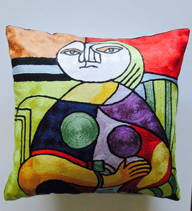 "Hand Embroidered Picasso inspired ""Reading"" Pillow Shams"