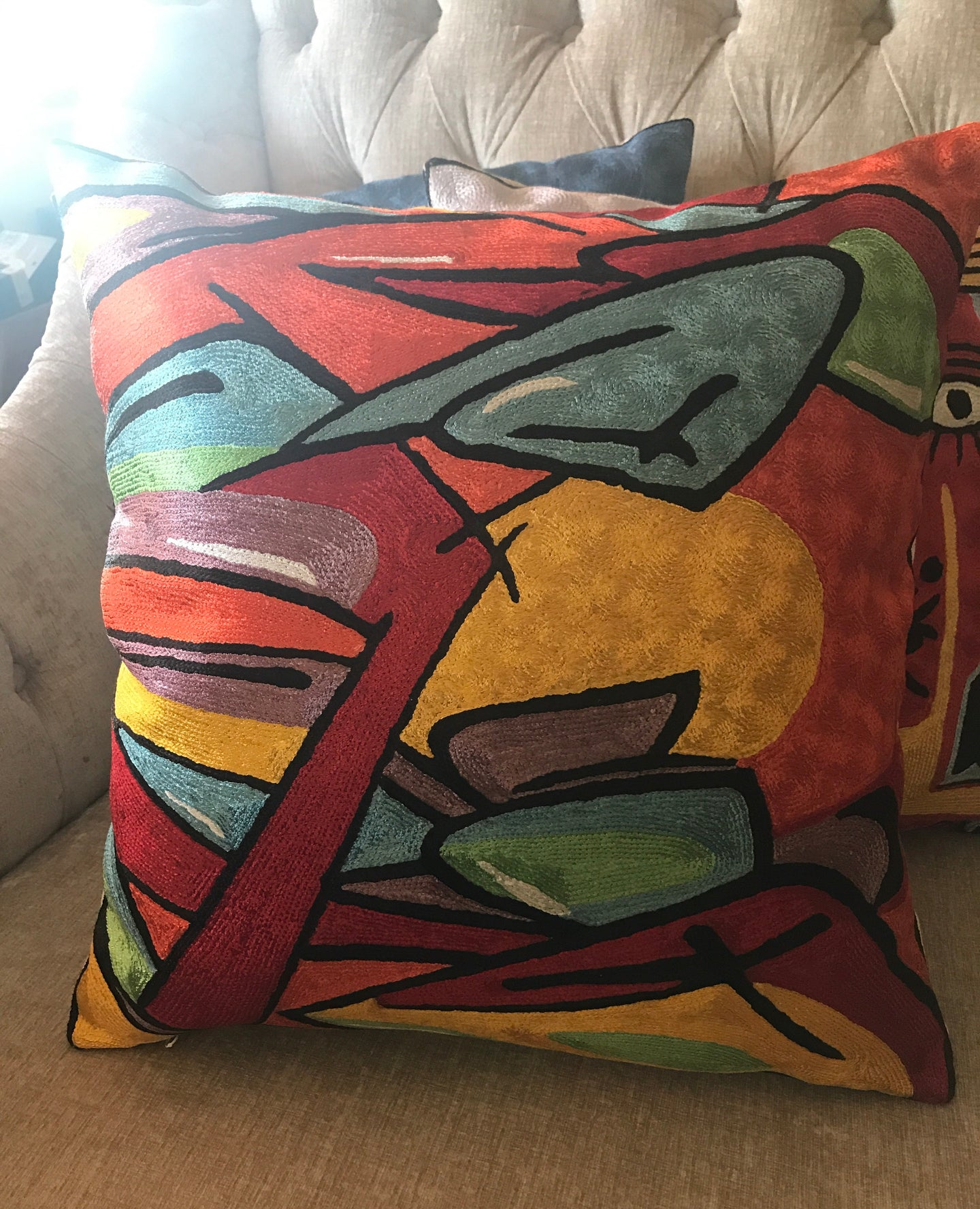 Hand Embroidered Pop Art Pillow Shams