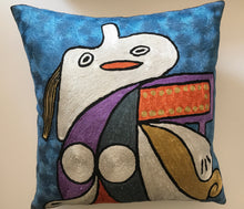 "Hand Embroidered Picasso inspired ""Yellow Belt"" Pillow Shams"