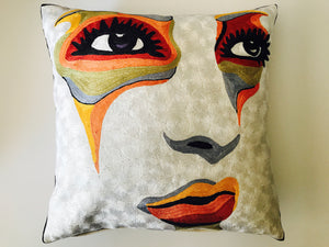 Hand Embroidered Pop Art Pillow Shams Jeremy Young Inspired