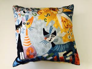 Silk Hand Embroidered Cats Pillows Shams