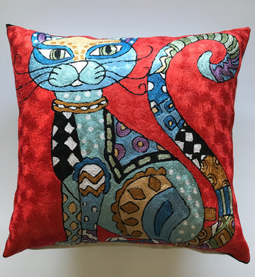 Silk Hand Embroidered Knotty Cats Pillows Shams