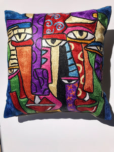 Hand Embroidered  abstract Pop Art inspired Pillow Shams