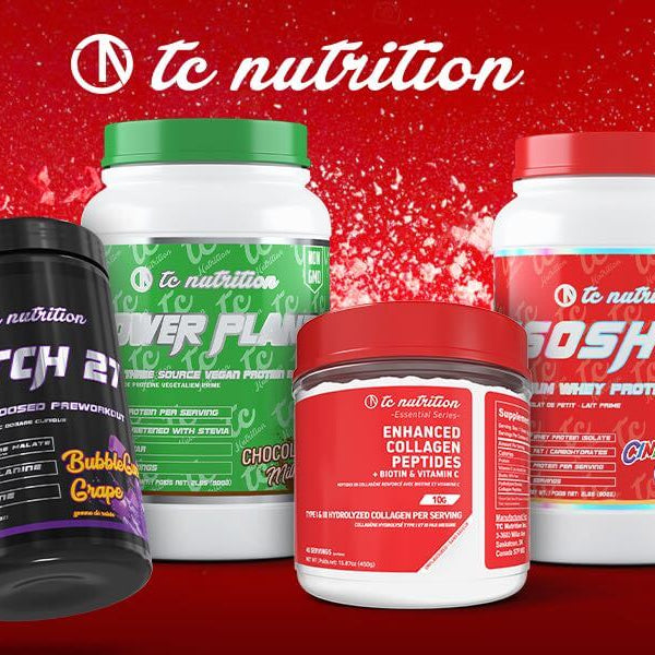 A Collection of TC Nutrition Workout Supplements That Are Used To Help Performance In The Gym