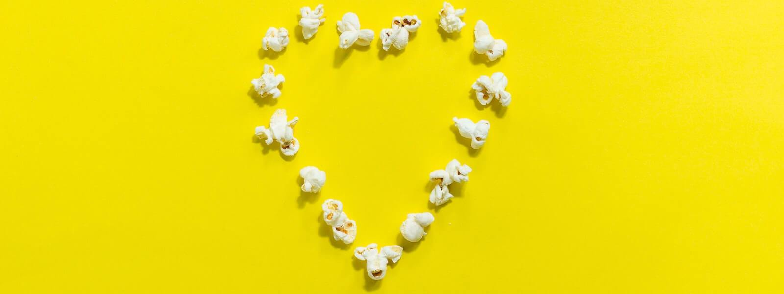 Popcorn in the shape of a heart.