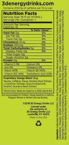 3D Energy Drink Nutrition Facts at Supplement Superstore Canada