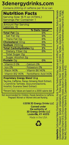 3D Energy Drink Nutrition Facts