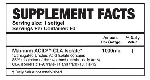 Magnum Nutraceuticals Acid CLA Weight Loss Support Nutrition Facts