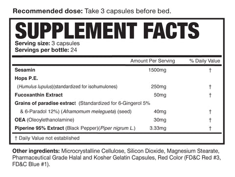Magnum Nutraceuticals After Burner Night Time Fat Burner Nutrition Facts