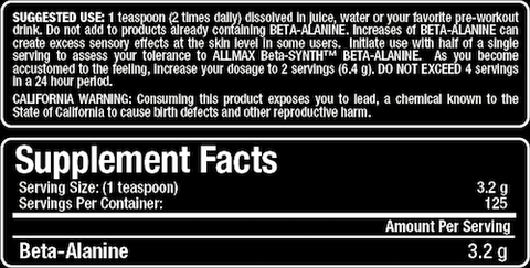 Beta Alanine by Allmax Raw Ingredients at Supplement Superstore