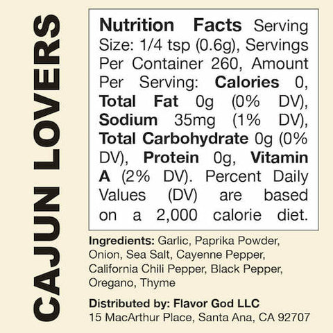 Cajun Lovers Flavor God by Flavour God Functional Food Seasoning at Supplement Superstore