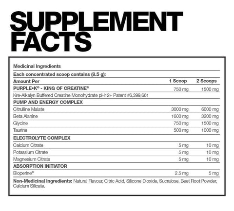 Fusion Bodybuilding Purple K Reps Pre Workout Stimulant Free Kre Alkalyn Creatine at Supplement Superstore Canada