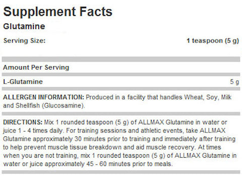 Glutamine by Allmax Raw Ingredients Recovery at Supplement Source