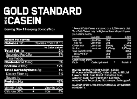 Optimum Nutrition Gold Standard Casein Slow Release Protein Nutrition Facts