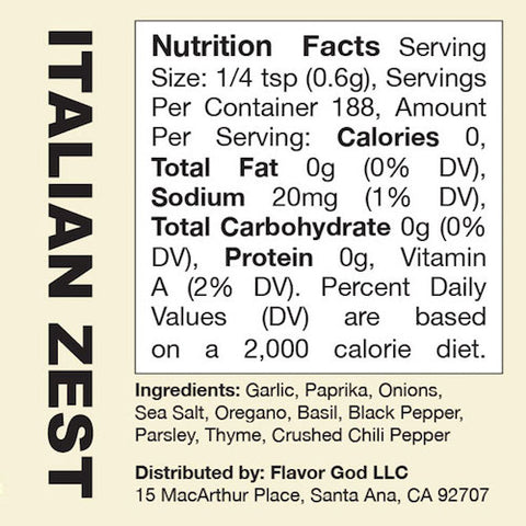 Italian Zest Flavor God by Flavour God Functional Food Seasoning at Supplement Superstore