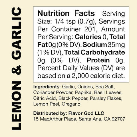 Lemon and Garlic Flavor God by Flavour God Functional Food Seasoning at Supplement Superstore Canada