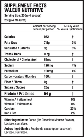 Beyond Yourself Mass Gainer Weight Gain Nutrition Facts at Supplement Superstore Canada